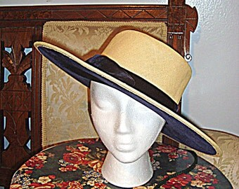SALE 1950s Lord & Taylor Fifth Avenue Wide Brim Straw Hat Black Velvet Lining and Accents