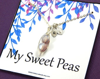 Peas In A Pod Necklace,  Swarovski Crystal Pea Pod Necklace - White Opal  Moonlight  Shade, Choose Your Initials
