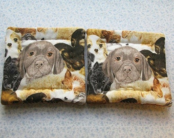 puppy faces hand quilted set of 2 potholders hot pads