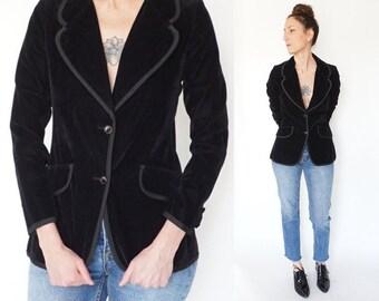 vintage 70s BLACK boyfriend VELVET tuxedo FITTED blazer S
