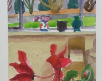 Inside- outside- Original watercolor painting