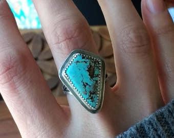 Royston Turquoise Sterling Silver Split Shank Oxidized Ring - Size 6.25 - Boho Bohemian Hippie Ponderbird