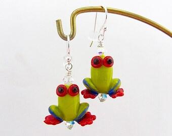 Tree Frog Earrings 2 - Lampwork Glass Bead Creation - SRA