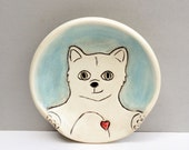 Ceramic Spoon Rest with White Cat or Kitty, Blue and White Spoonrest For The Kitchen, Cat Pottery or Animal Pottery