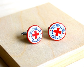 Red Cross Cuff Links, Wedding Cuff Links, Swimmer  Cuff Links, Whmisical, Life Guard Cuff Links, Summer Camp, Swim Team
