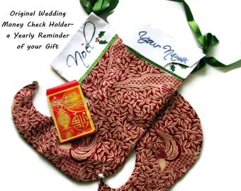 Unusual Wedding Check Holder Custom Christmas Stockings and Envelope