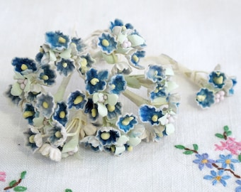 Barbie Bridal Bouquet - Vintage Blue Velvety Felted Paper Cluster/wrapped wire - Milinery - Barbie Doll Accessory - Barbie Diorama