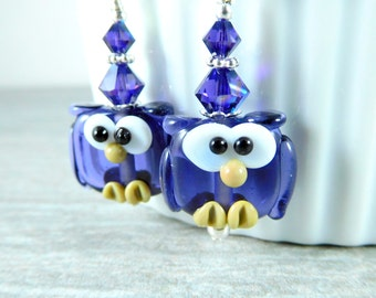 Owl Dangle Earrings, Bird Jewelry, Purple Lampwork Earrings, Nature Inspired, Woodland Animal Earrings, Whimsical Gift for Bird Lovers