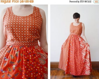 SPRING CLEANING SALE 1970s Red Paisley Maxi Dress - M/L