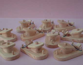 Buy 10- Pay for 9, Natural Wood Unfinished Paddle Tug Boats, Rubber Band Powered Bathtub Wooden Toy, Handmade Party Favor,Jacobs Wooden Toys