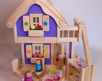 Wooden Toy Peg Doll House, Natural Wood Toy Dollhouse Furniture, Handmade Kids Gift, Waldorf inspired, Jacobs Wooden Toys 'LAVENDER DREAM'