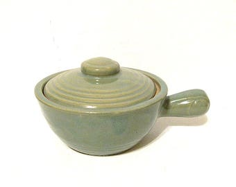 Vintage Ringed Soup Bowl with Lid Light Green USA Pottery