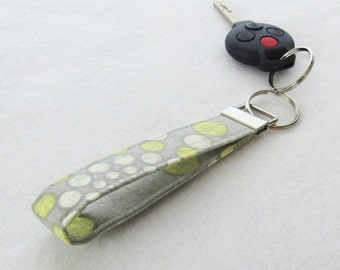 Gray Yellow and White Dot Wristlet Key Fob Fabric Keyring Keychain Waverly Fabric Handmade
