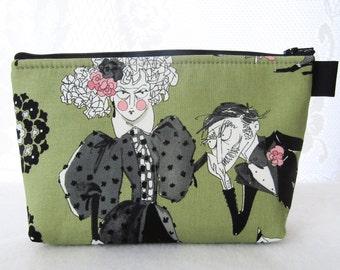 Ghastlies Fabric Large Cosmetic Bag Zipper Pouch Padded Makeup Bag Cotton Zip Pouch Alexander Henry Green Black Gaspar Mathilde Ghastlie GRG