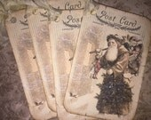 Christmas Santa tags, set of 6 with stickles glitter wings.