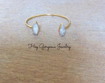 Druzy arrow cuff bracelet- adjustable bracelet- druzy- arrow- geode-electroplated-valentines gift
