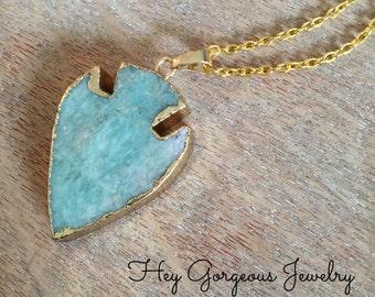 Gold plated Amazonite arrowhead pendant necklace - arrowhead necklace- layering necklaces - valentines gift