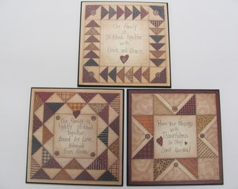 Quilted Wall Decor,Wooden Art Sign,Family Quilt Quotes,Linda Spivey,SALE,Set Of 3,12x12