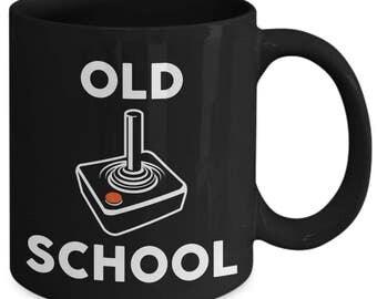 Old School Gamer Joystick 1980s Retro Vintage Coffee Mug