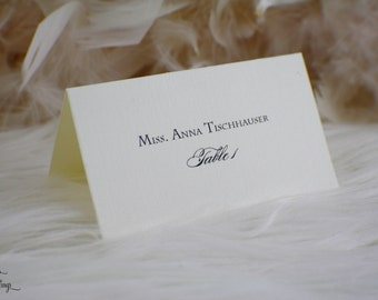 Classic Escort cards | Place cards | Placecards | Ivory | Black | Elegant | Seating cards | Classy | Simple | Linen | Gorgeous