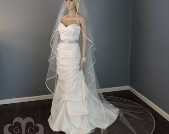 Wedding Veil Cascade Chapel or Cathedral Satin Ribbon Edge, Bridal Veil choose your color C45RIE
