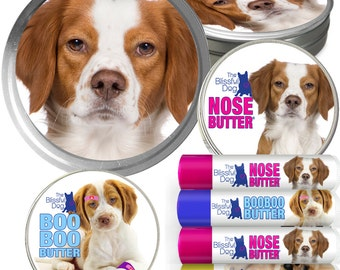Brittany Spaniel Big Sniff Combo Handcrafted Balms for Dry Dog Noses, Rough Paws, Elbow Calluses & Itchy Skin Discomforts in a Gift Tin