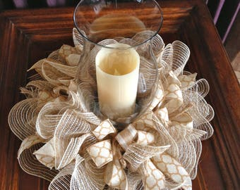Burlap and Linen Candel Ring Centerpiece with Nutral Accents, Small Wreath, Wall Hanger, Decoration,Wedding or Shower Tabel Centerpiece,