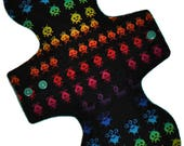 Moderate Hemp Core- Rainbow Space Invaders Reusable Cloth Overnight Pad- WindPro Fleece- 10.5 Inches (26.5 cm)