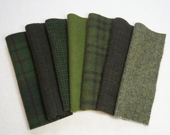 "Moss Green Hand Dyed Felted Wool Fabrics 7-8"" x 5-6"" perfect rug hooking and applique wool"