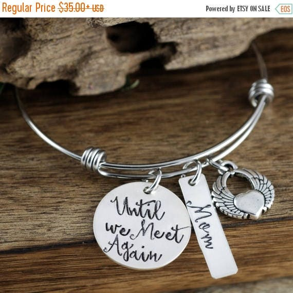 15% OFF SALE Memorial Jewelry, Sympathy Gift, Personalized Jewelry, Angel Wing Bracelet, Hand Stamped Bracelet, Loss of Loved One, Until we