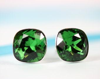 Dark Moss Crystal Stud earrings Swarovski 10mm cushion cut, sterling silver settings, gift for her, emerald green post/stud earings, art4ear