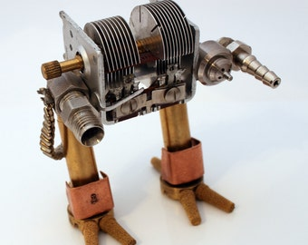 Steampunk Mecha Robot upcycled metal sculpture- Freestanding recycled Sci-fi mechanical mech warrior- Geek gift for men- Gifts for him