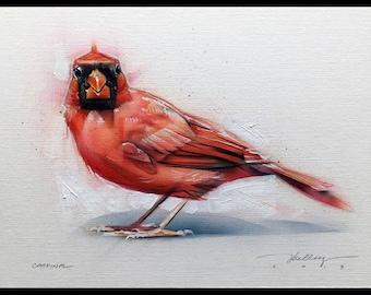 Cardinal Acrylic Painting Original Art
