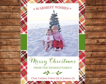Photo Picture Christmas Tartan Plaid Red Gold Warmest Wishes - Digital File