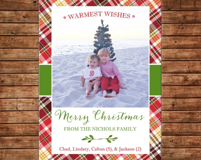 Christmas Holiday Photo Card Tartan Plaid - Can Personalize - Printable File or Printed Cards