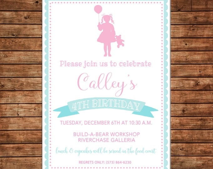 Girl Teddy Bear Build Bear Scallop Pink Teal Turquoise Silhouette Birthday Invitation - DIGITAL FILE