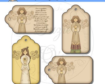 Angel Tags - Includes 1 with poem for Angel Feather Ornament - CU Digital Printable - Immediate Download