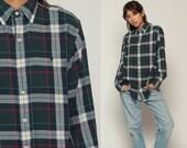 Plaid Shirt RALPH LAUREN 90s Grunge Navy Blue Green Oversize Long Sleeve 80s Button Up Vintage Preppy Small