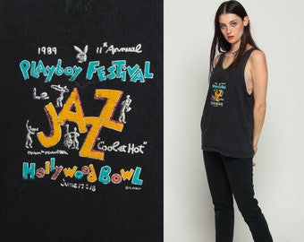 Playboy Shirt JAZZ FESTIVAL 1989 Music Top 80s Music Tank Top Hollywood Bowl Graphic Retro 1980s Hipster Sleeveless Black Medium