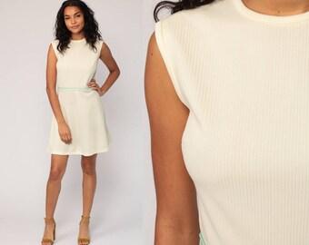 60s Mini Dress Mod Off-White Stripe 1960s Gogo High Waist Vintage Sixties Twiggy Go Go Sleeveless MiniDress Medium