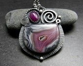 Laguna Agate and Ruby Sterling Silver Multi Gemstone Necklace