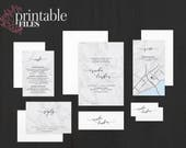 The 'Sybil' Romantic Marble Calligraphy Wedding Invitation Suite (Printable PDFs)
