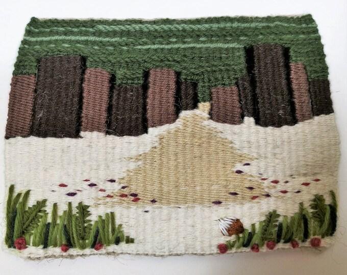 Into the Woods -  handmade tapestry weaving framed