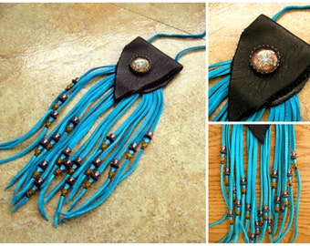 """Black deerskin leather neck pouch with a glass mandala charm, 6"""" turquoise long fringe beaded with trade beads, 34"""" turquoise neck cord"""