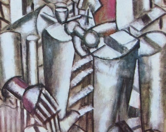Soldier with Pipe/Trees, Cubism, Modern Art, 1970 2-Sided Book Page, Fine Art Print, Color Plate