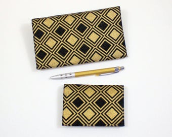 Geometric Card Case and Checkbook Cover for Duplicate Checks with Pen Holder, Black and Gold Diamonds Cotton Fabric, Two piece set