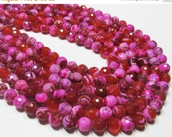 """HOLIDAY SALE 7"""" Gemstone STRAND - Agate Beads - 8mm Faceted Rounds - Hot Magenta Pink and Orange (7"""" strand - 22 beads) - str832"""