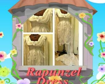 Rapunzel Wedding Dress with Train, Hi Low, Short, Midi Tea Length or Maxi Elf Angel Custom Gothic White Gown Womens