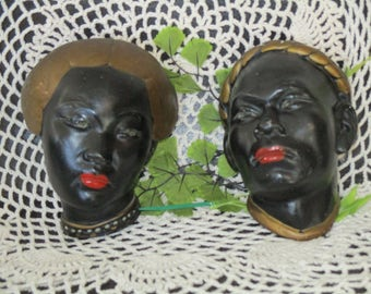 Beautiful Male & Female Headbust Alexander Backer ABCO  Chalkware Wall Plaques or Standing Figurines Mid-Century Art Rare Find