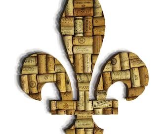 fleur de lis - wine gifts - cork art - wine cork - wine cork art - upcycled - wine decor - cork decor - wine cork fleur de lis - wall art